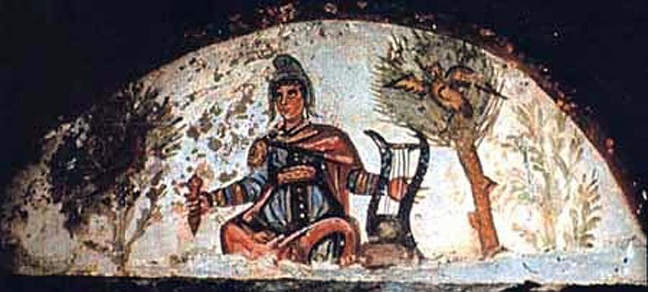 00 Catacumba de Marcelino arcosolio con el mito de Orfeo símbolo de resurrección