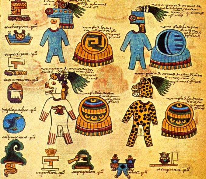 La imagen tiene un atributo ALT vacío; su nombre de archivo es depictions-of-aztec-war-costumes-and-armor-from-the-codex-mendoza..jpg