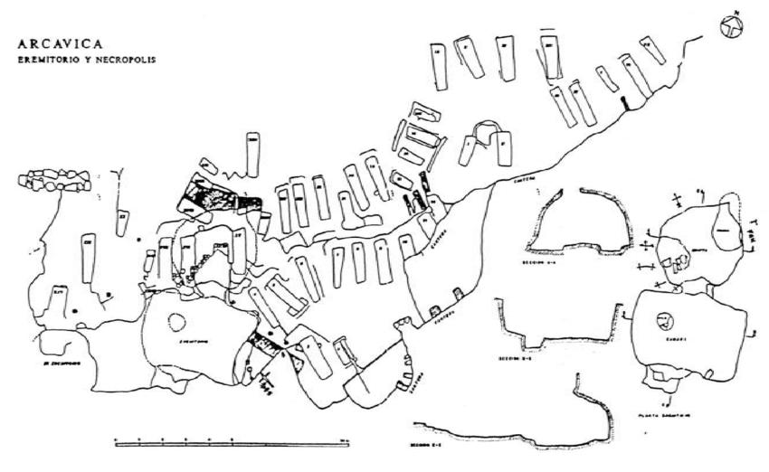 La imagen tiene un atributo ALT vacío; su nombre de archivo es arcavica-eremitorio-y-necropolis-plano-y-secciones.png